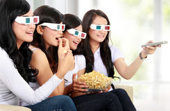 Group of girls watching the movie Stock Photography