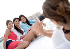 Group of girls on a yacht Stock Photography