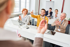 Group gives applause in business seminar Royalty Free Stock Photography