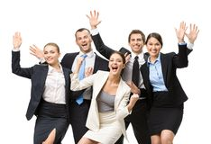 Group of glad managers Stock Image