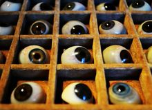 Glass eyeballs stock photography