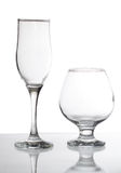 Group of glasses. Isolated on white Stock Photos