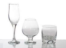 Group of glasses. Isolated on white Royalty Free Stock Photo
