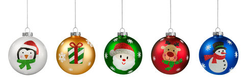Group of Glitter Christmas Balls Stock Photography