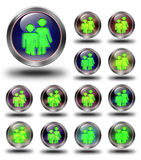 Group glossy icons, crazy colors. Group glossy icon, button, crazy colors, Glossy metallic buttons Royalty Free Stock Photos