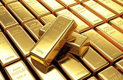 Group of gold bars Stock Photo