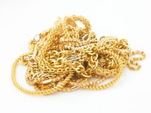 Group of gold chains stock images