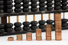 Group of gold coin graph form and abacus Royalty Free Stock Photo