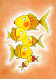 Group of gold fish, child's drawing, watercolor painting. On canvas paper Royalty Free Stock Images