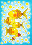 Group of gold fish, child's drawing, watercolor painting. On paper Stock Image