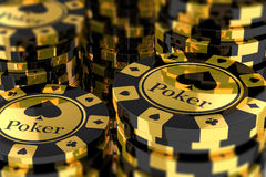 Group of gold poker chips Royalty Free Stock Photo