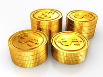 Group of gold usa dollar coins stacks on white Royalty Free Stock Photo
