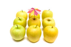 Group Of Golden Apples Isolated royalty free stock photos