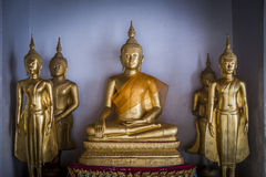Group of Golden Buddha statue are in the Thai Temple2 Royalty Free Stock Photography