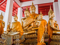 Group of golden Buddha statues. Stock Photography