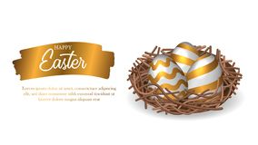 Group golden 3D egg decoration for easter party celebration on the nest with gold splash paint with text. Poster, layout banner, ad promotion template. Vector vector illustration
