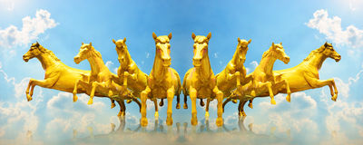 Group of golden horses running Royalty Free Stock Photography