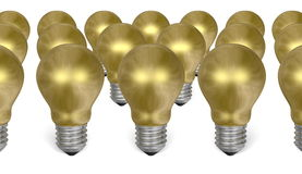 Group of golden light bulbs Royalty Free Stock Photography