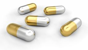 Group of golden and silver pills spilled on desk vector illustration