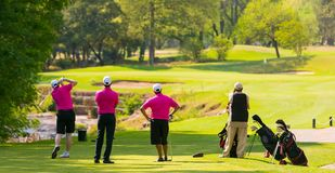 Group of golfers on a fairway. Group of golfers Tee off by a fairway on a sunny day stock image