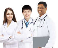 A group of good doctors.  white background. Royalty Free Stock Photography