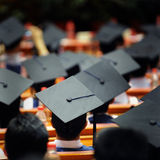 Group of graduates. Shot of graduation caps during commencement Royalty Free Stock Images