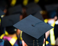 Group of graduates. Shot of graduation caps during commencement Stock Photography