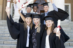 A group of graduates celebrating Royalty Free Stock Photography