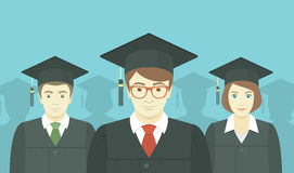 Group of Graduates. Flat vector horizontal illustration of the group of college, institute or university graduates in graduation gowns and mortarboards Royalty Free Stock Photos