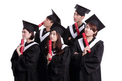 Group of graduates student think Royalty Free Stock Photo