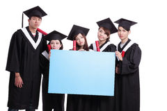 Group of graduates student think. Their future and show blank billboard isolated on white background, asian royalty free stock photos