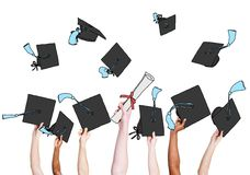 Group of Graduating Student's Hands Holding and Throwing Mortar. Board Royalty Free Stock Image