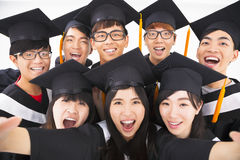 Group of graduation Friends Smile for Camera Royalty Free Stock Photos