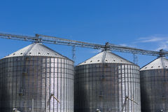 Group of grain silos in Uruguay with blue sky Royalty Free Stock Images
