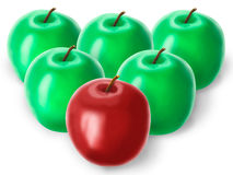 Group of green apples and one red Royalty Free Stock Photo