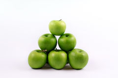 Group of green apples on a white background Royalty Free Stock Photo