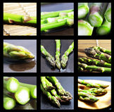 Group of green asparagus. Snapshots highlighting different aspects of the thematic Stock Photo