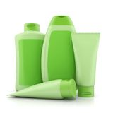 Group of green bio cosmetics containers Stock Photography