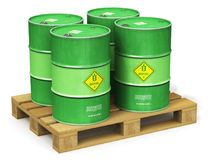 Group of green biofuel drums on shipping pallet isolated on whit. Creative abstract ecology, alternative sustainable energy and environment protection saving Stock Photos