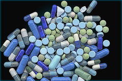 Group of Green and Blue Pills Stock Photo