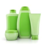 Group of green cosmetic containers Royalty Free Stock Images