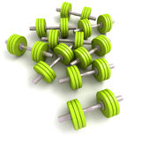 Group of green dumbbells Stock Photo