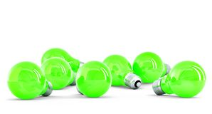 Group of green light bulbs Stock Photo