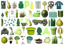 Group of Green Objects Stock Photo