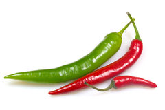 Group of green and red chilli peppers. Royalty Free Stock Image