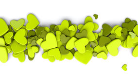The group green scattered hearts on a white background. Valentine`s day background. The group scattered hearts on a white background . Valentine`s day Royalty Free Stock Photography