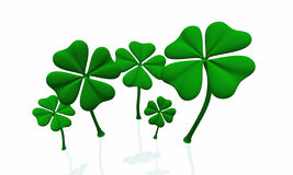 A group of green shamrocks 01. A group of green shamrocks on white background vector illustration