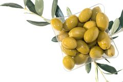 Group of green shiny olives in the square plastic plate and three brunches of olive tree stock photography