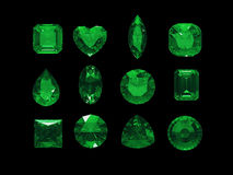 Group of green tourmaline shape with clipping path Royalty Free Stock Photos