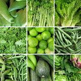 Group of green vegetable. S like caihua, celery, lettuce, spinach, zucchini and lemon Stock Image
